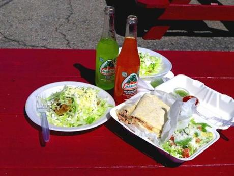Sit at a picnic table and enjoy a tamale plate, a quesadilla and fruit-flavored sodas — everything in the Mexican style.